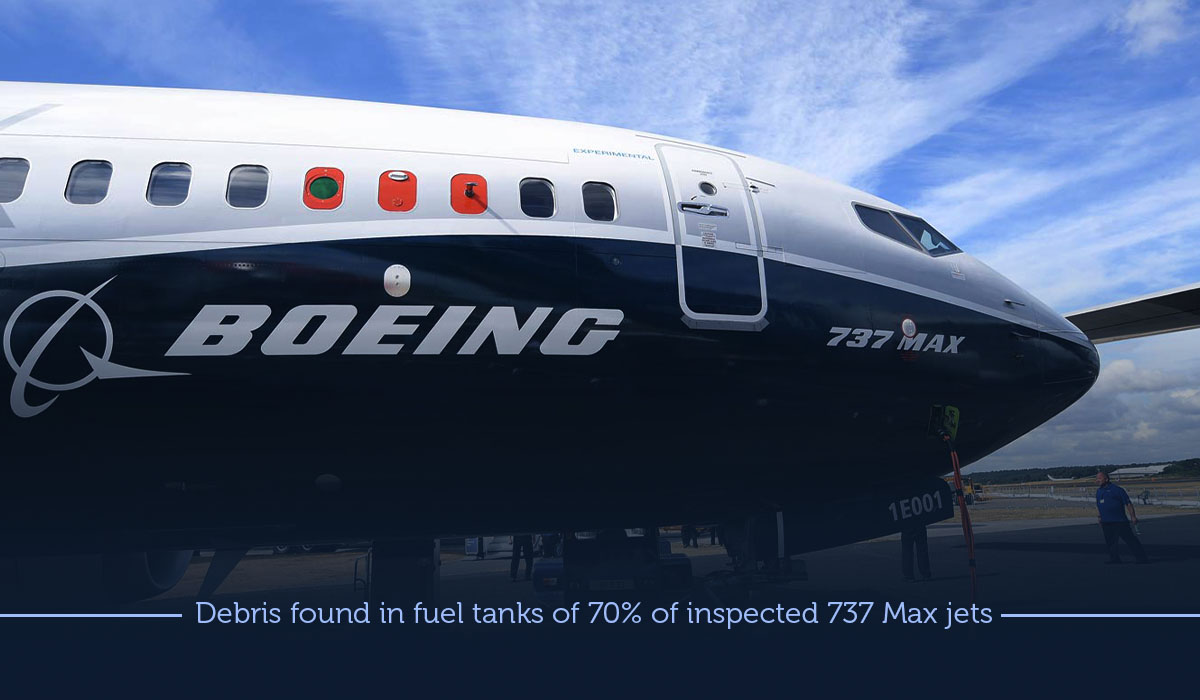 Debris present in 70% of the inspected 737 Max Fuel Tanks