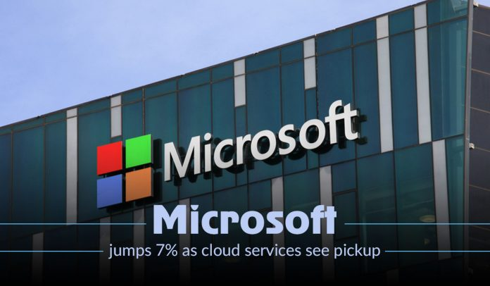 Microsoft share ramps up 7% as cloud services see a pickup