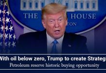 At negative oil value, Trump to make Strategic Petroleum Reserve