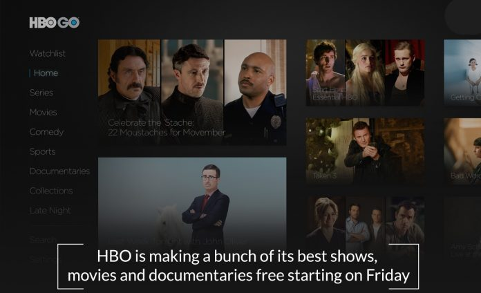 HBO is going to offer free best shows, documentaries, and movies starting on Friday