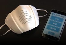 A high-tech smart mask designed by Donut Robotics that translates into 8 languages